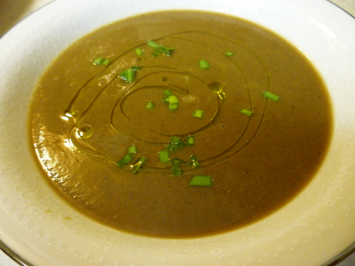 Savory Sage & Mushroom EVOO used to top off this chestnut porcini soup.