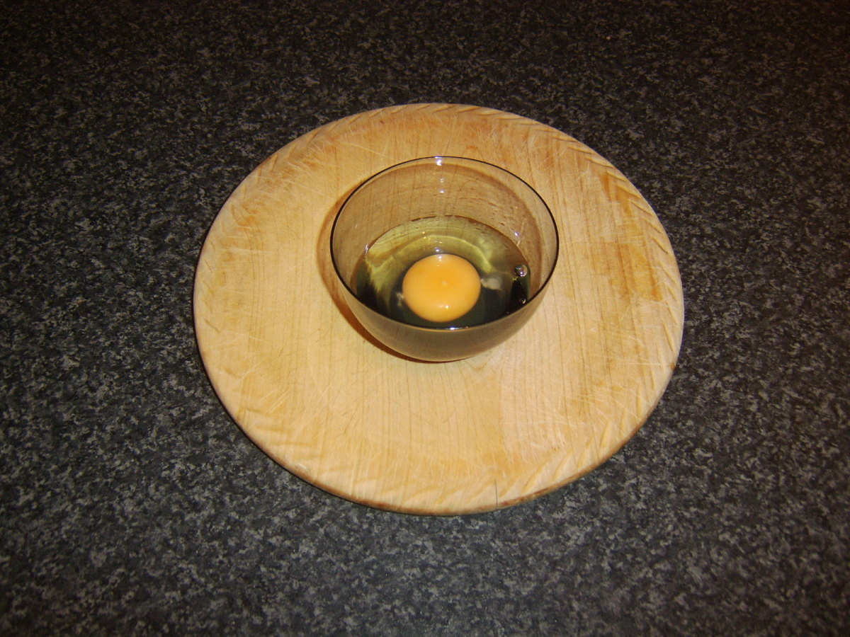 Egg is broken in to a small bowl or cup and then poured in to frying pan