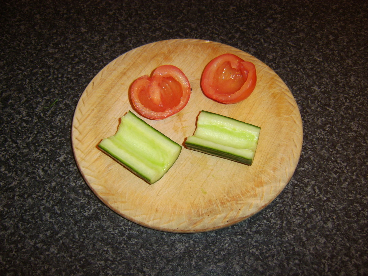 Tomato and cucumber are deseeded