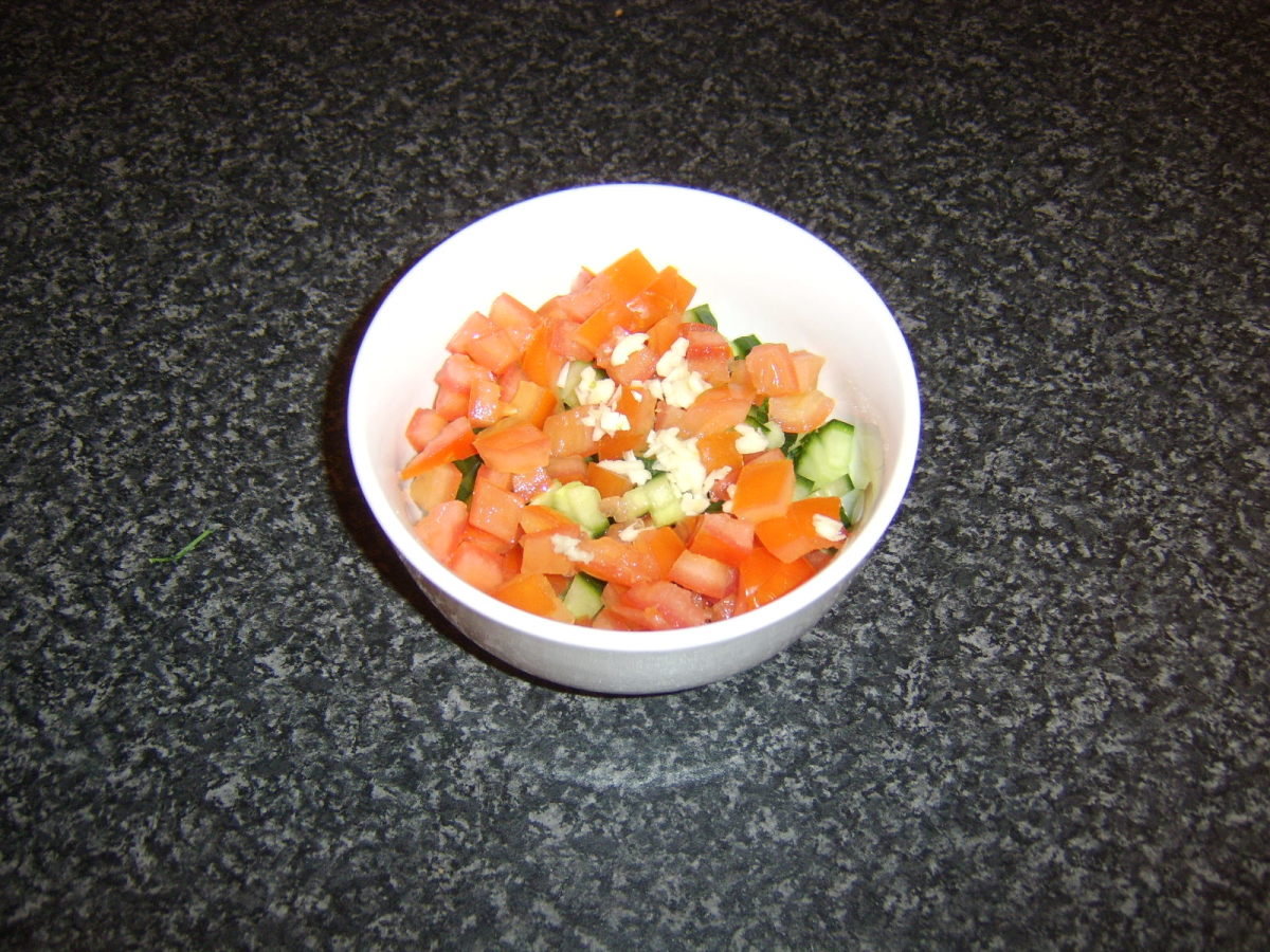 Chopped salsa ingredients