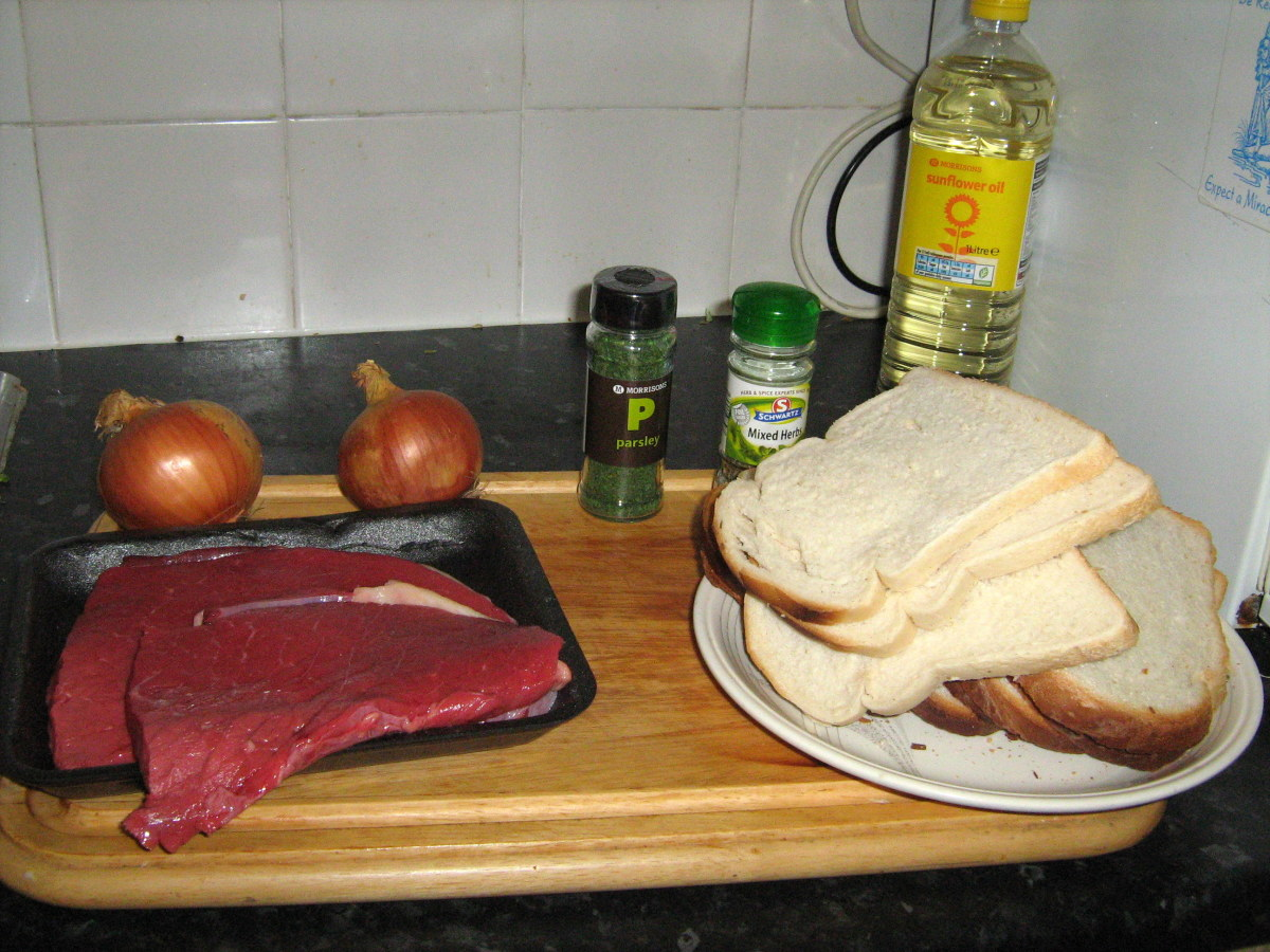 Ingredients needed for stuffed steak recipe
