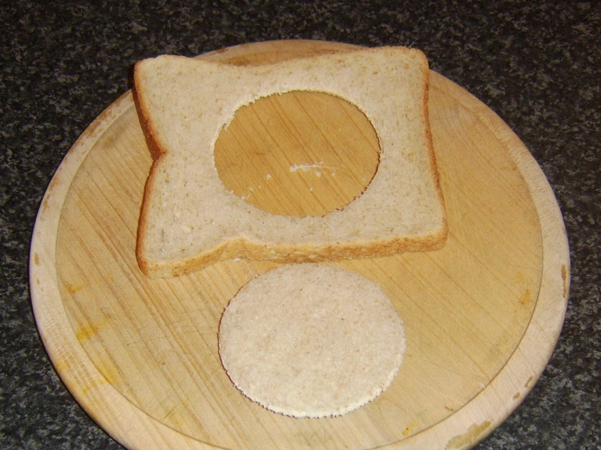Circle of bread removed from centre of slice