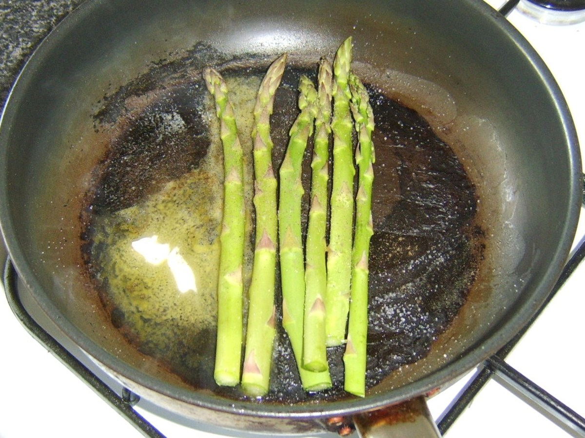 Sauteeing asparagus spears