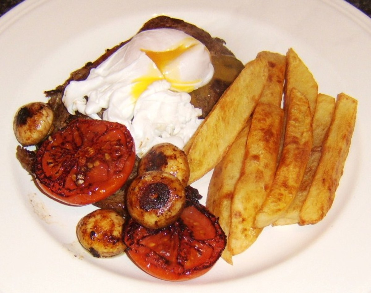 A poached duck egg replaces the more traditional fried chicken egg in this variation of the classic dish, steak, egg and chips
