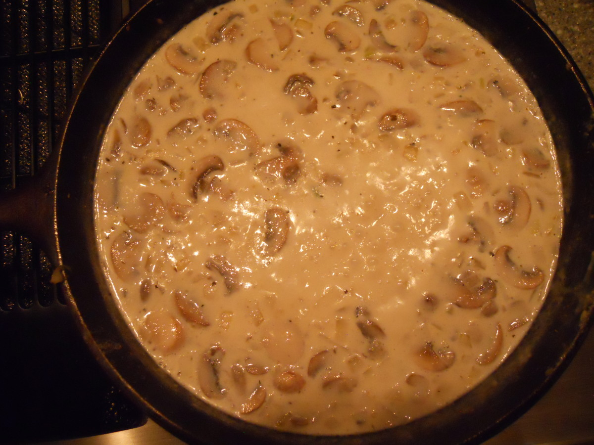 Add mushrooms, milk and half-and-half.