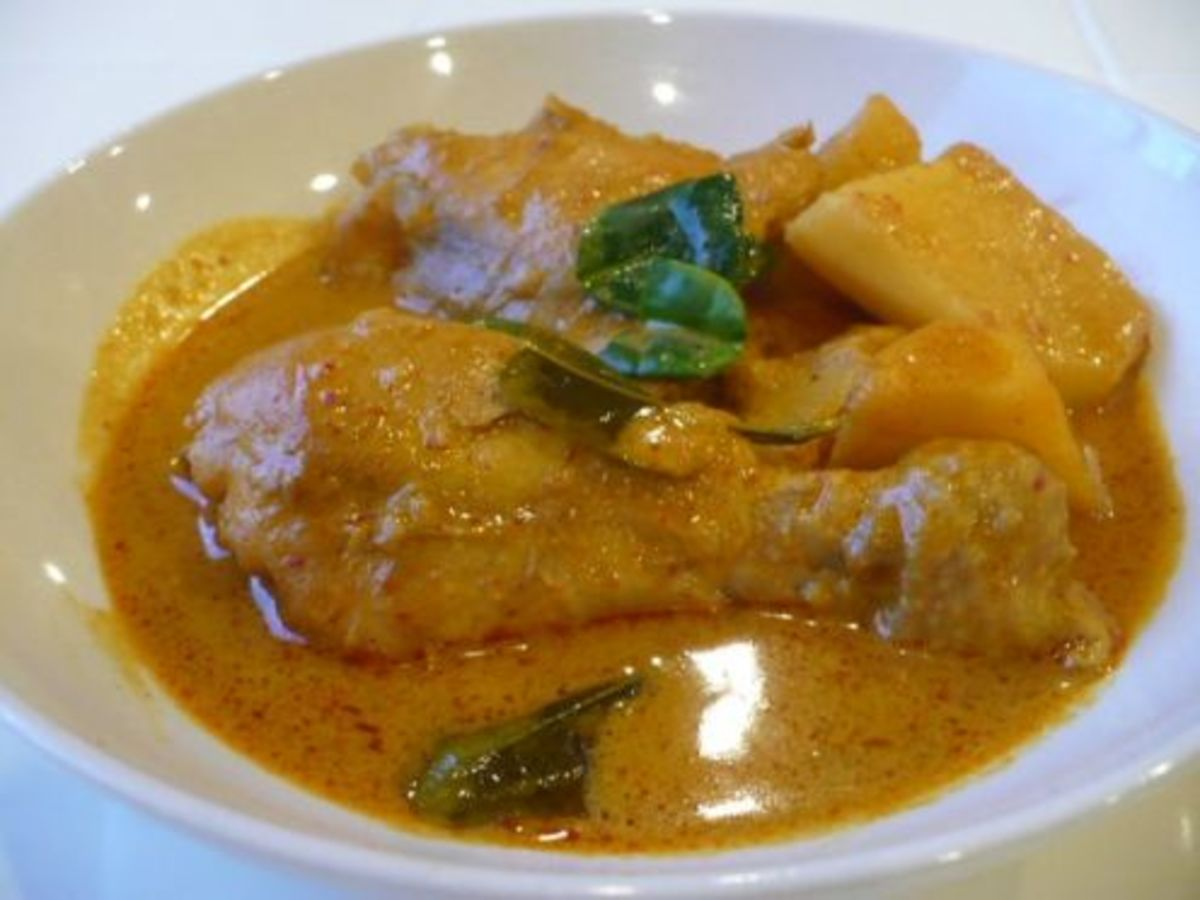 Chicken curry—Cumin is one of the main spices in this chicken curry recipe. Other spices used include garlic, onion, curry powder, chili powder, turmeric  and kaffir leaves.