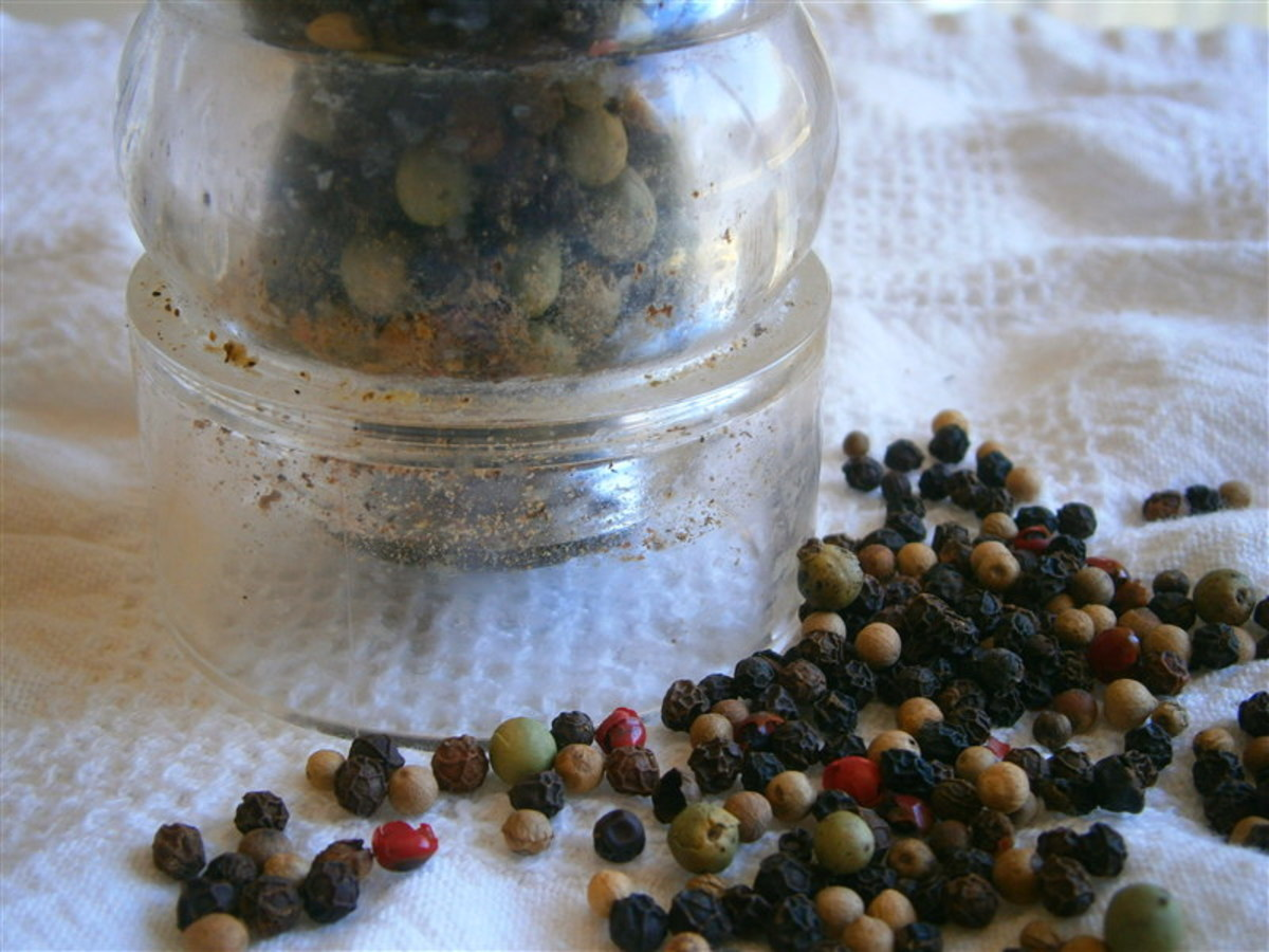 I love to use all the colors of pepper in one blend. Look closely to see my well-used pepper grinder.