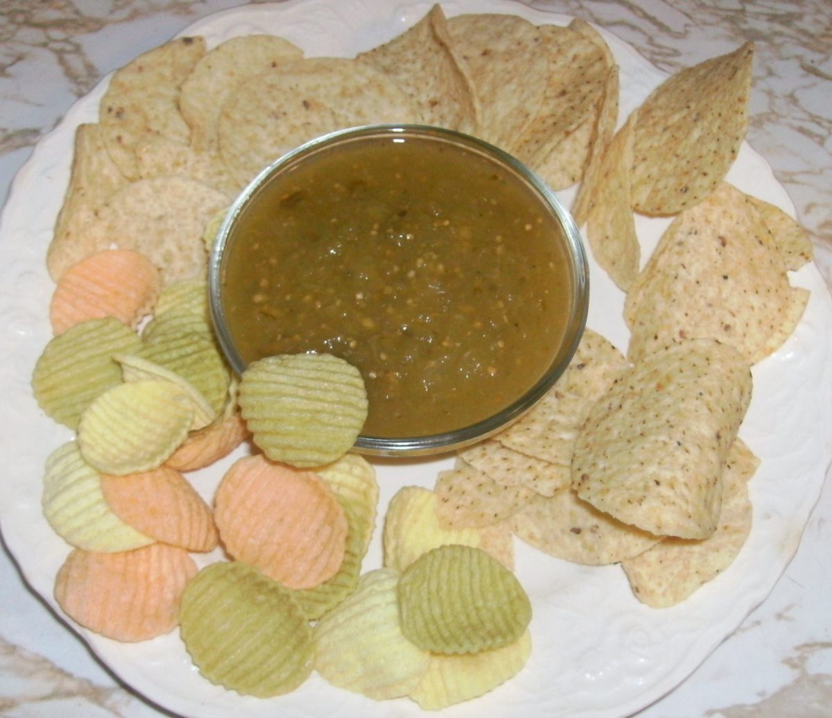 Dip into some green with chips and salsa.