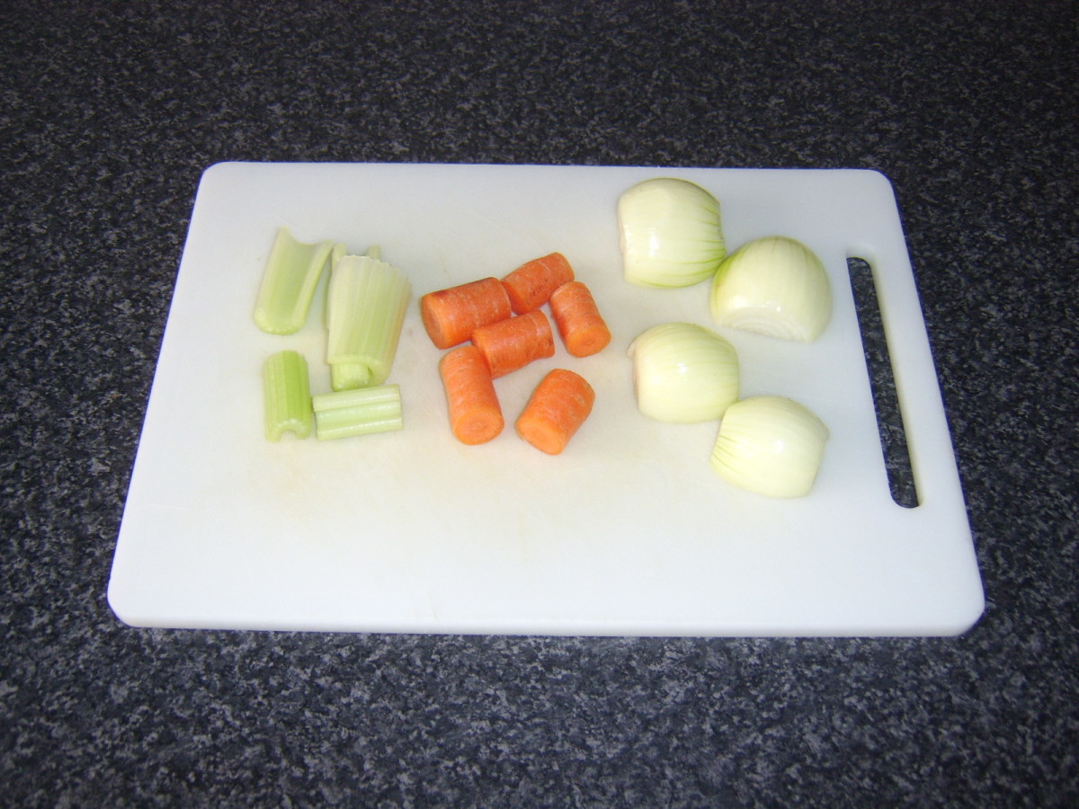 Vegetables are roughly chopped before going in to stock pot