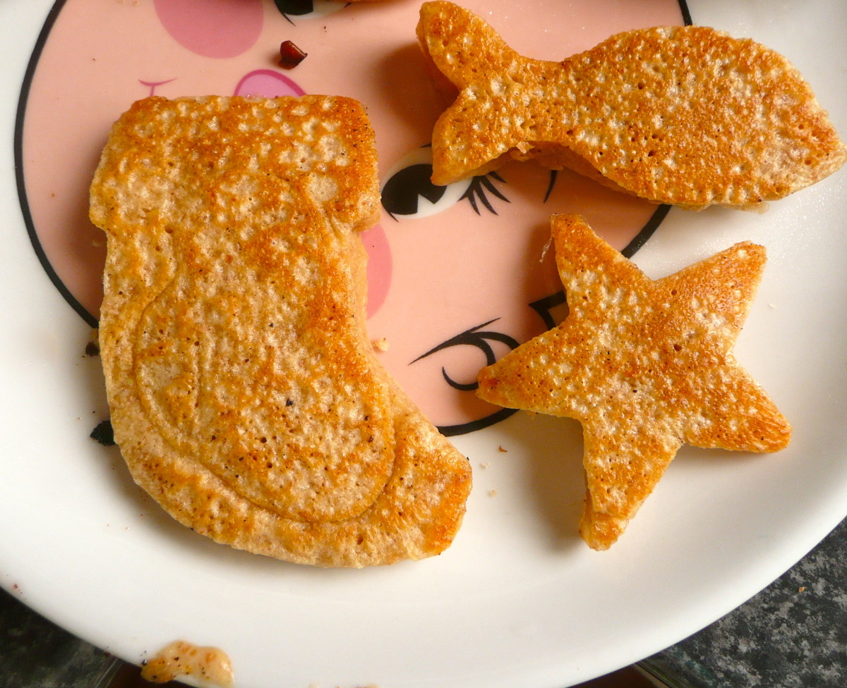 Healthy Scotch Pancakes, made with a mold to create interesting shapes.