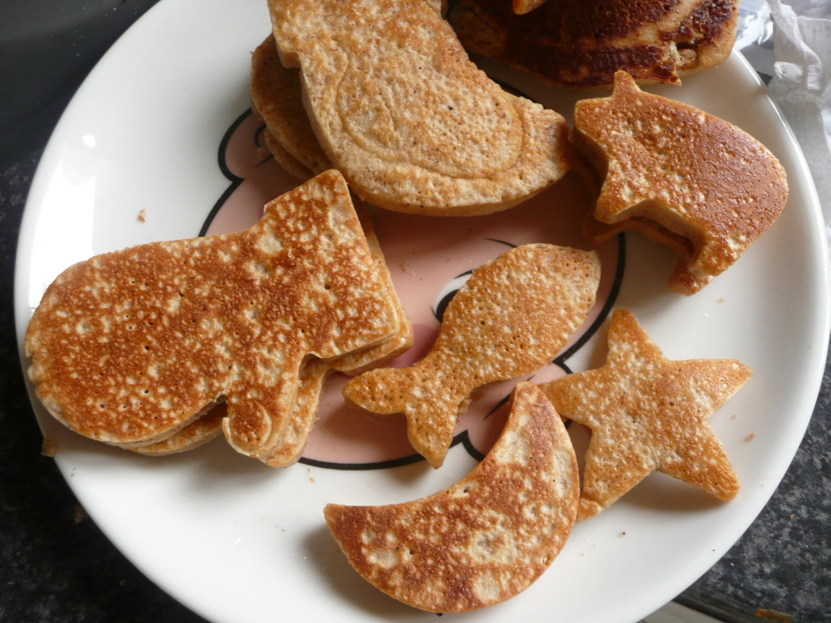 The shaped pancakes were a little difficult to flip, but they came out great!