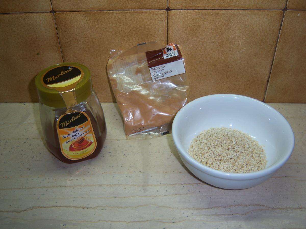13. Honey, cinnamon and sesame seeds.