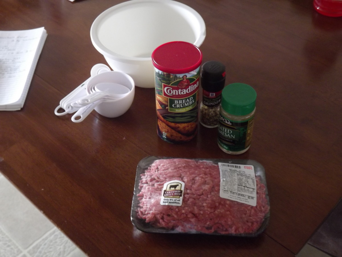 Ingredients for Italian meatballs