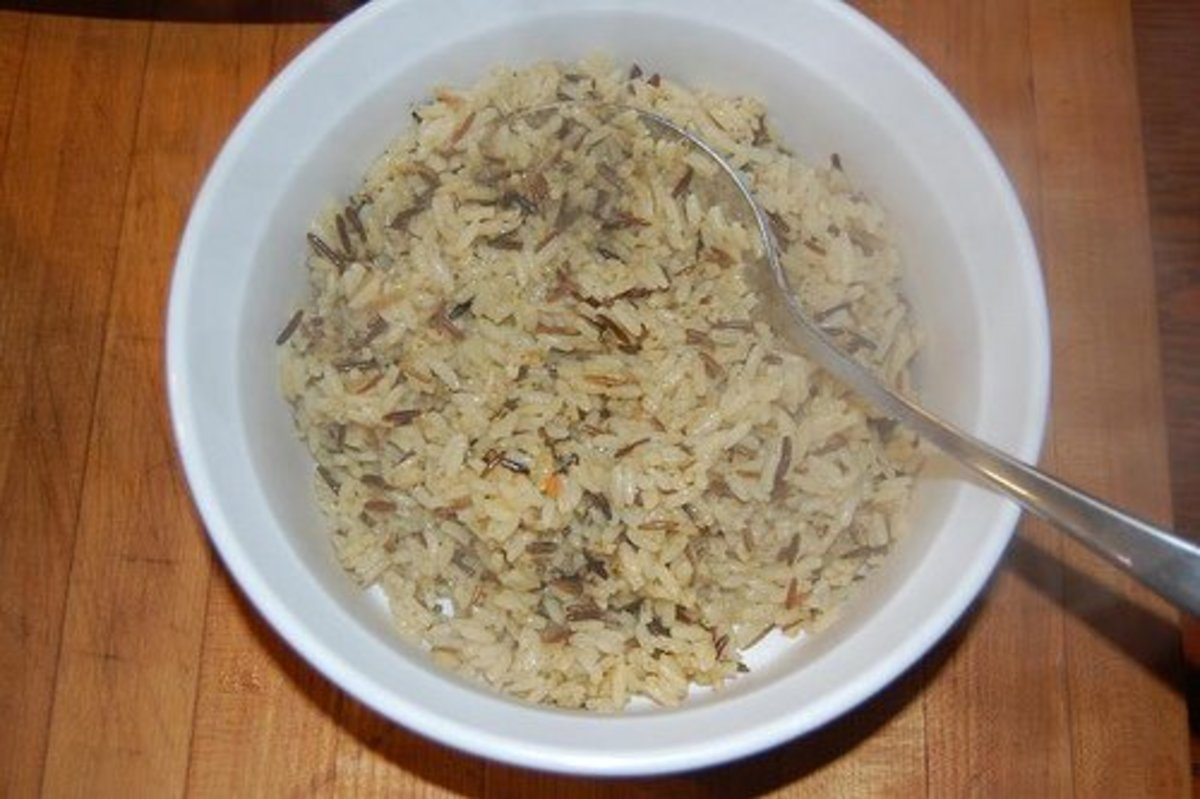 Cooked long-grain and wild rice mix