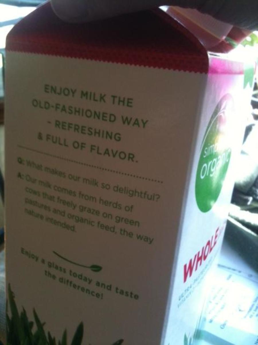 The Q&A on the carton of the 1/2 gallon size of Simple Truth organic milk.