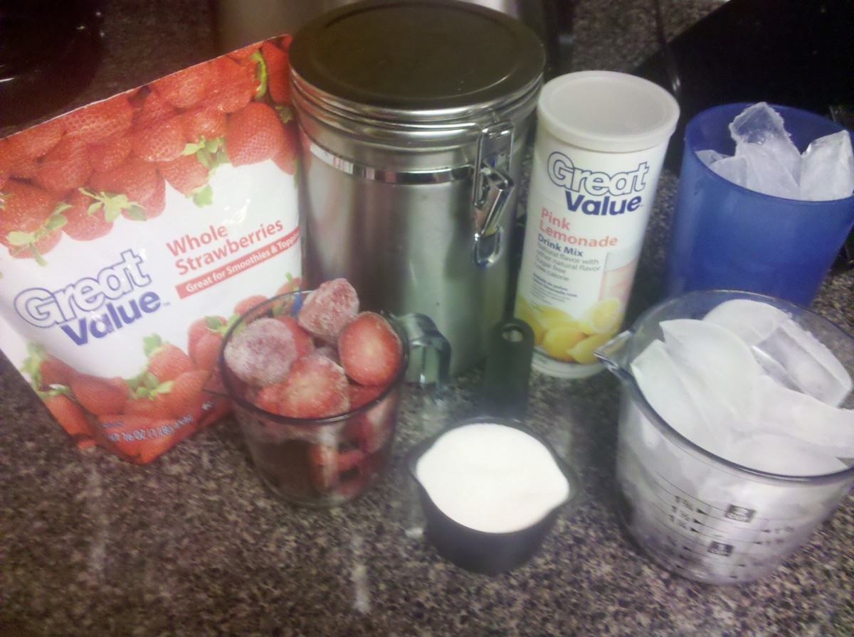 Ingredients needed to make a strawberry lemonade slush.