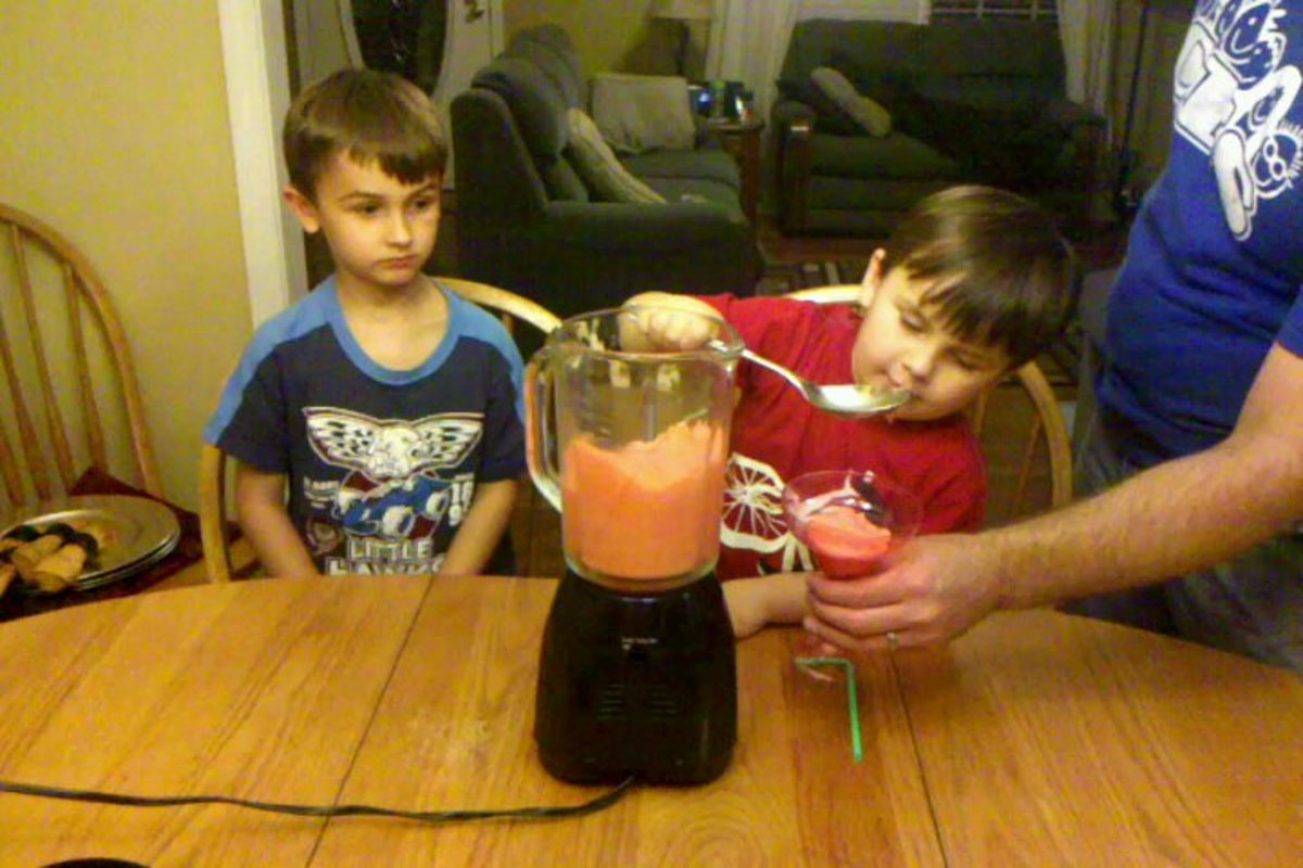 Pour or spoon out slush into glasses.