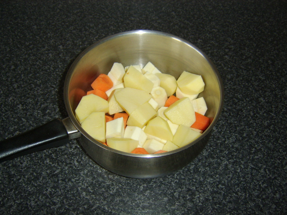 Prepared root vegetables for mash