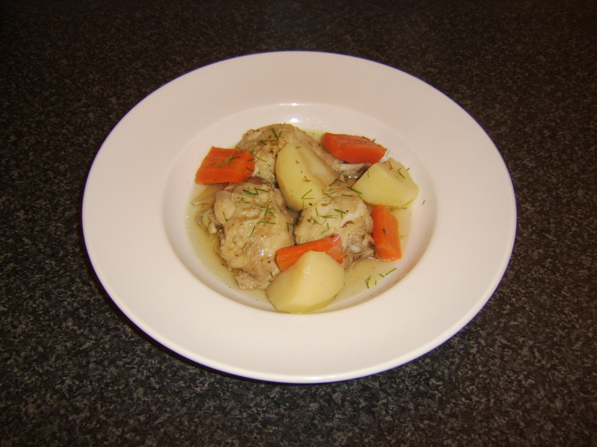 Chicken portions and root vegetables stew