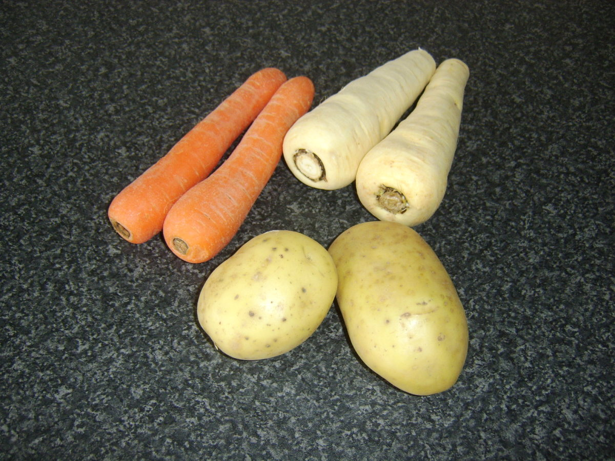 Root vegetables for mash
