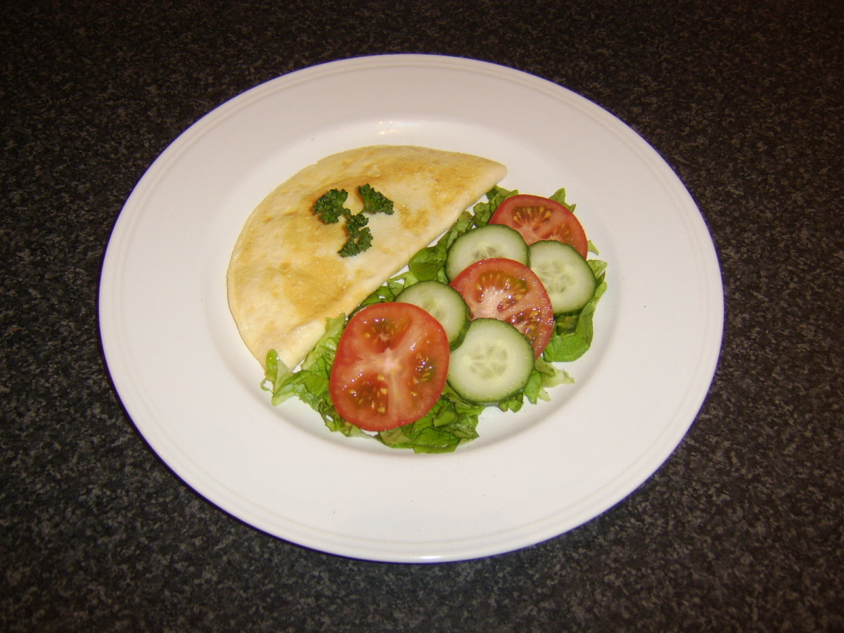 Light and fluffy chicken omelette with salad