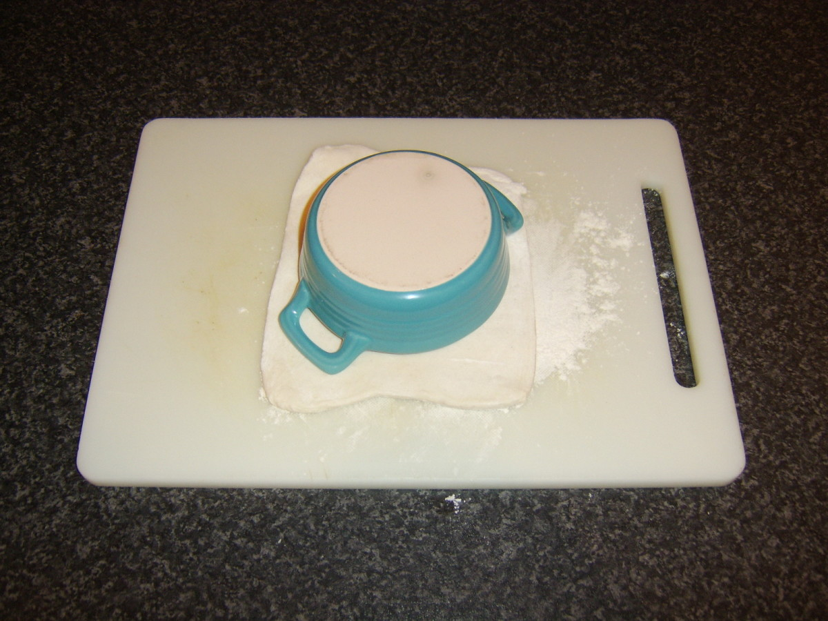 The pie dish is used as a template to cut the pastry