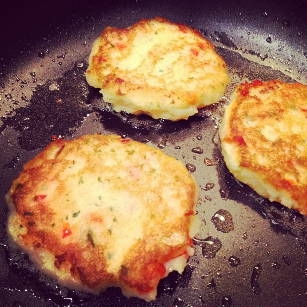 These potato cakes are almost ready to eat.