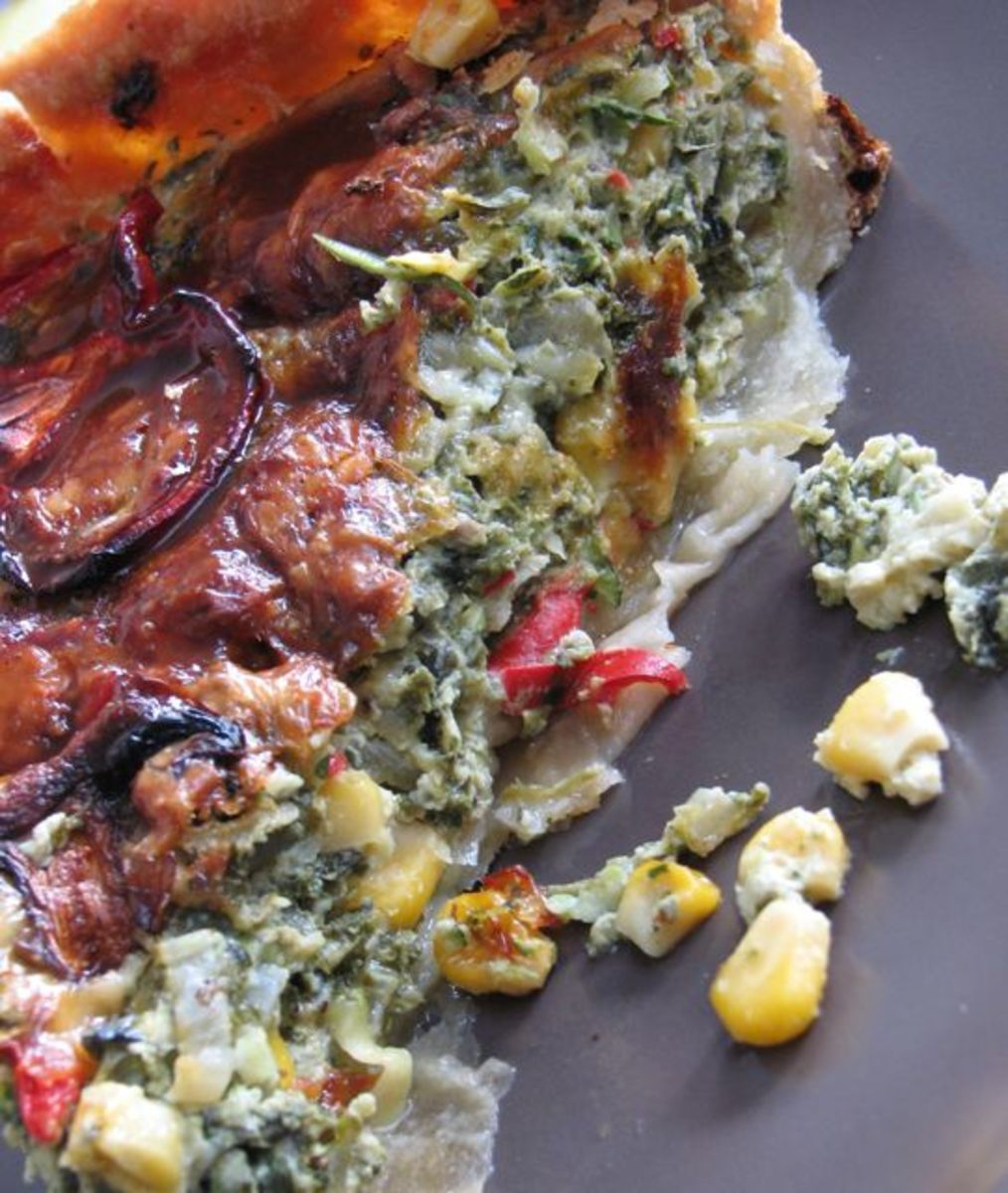 My favorite - kale vegetable pie - packed with color and vitamins!