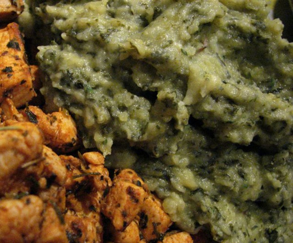 Irish colcannon made from frozen kale, served with spicy lime and herb chicken.