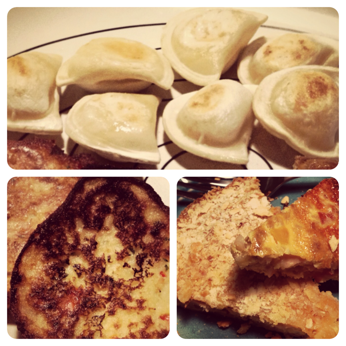 dinner's ready!  cheddar and potato pierogies, onion and red pepper potato latkes, and some crazy egg pie.
