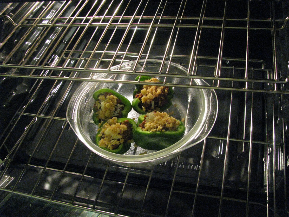Finish cooking peppers for approx. 10 minutes or until crumbs are golden brown.