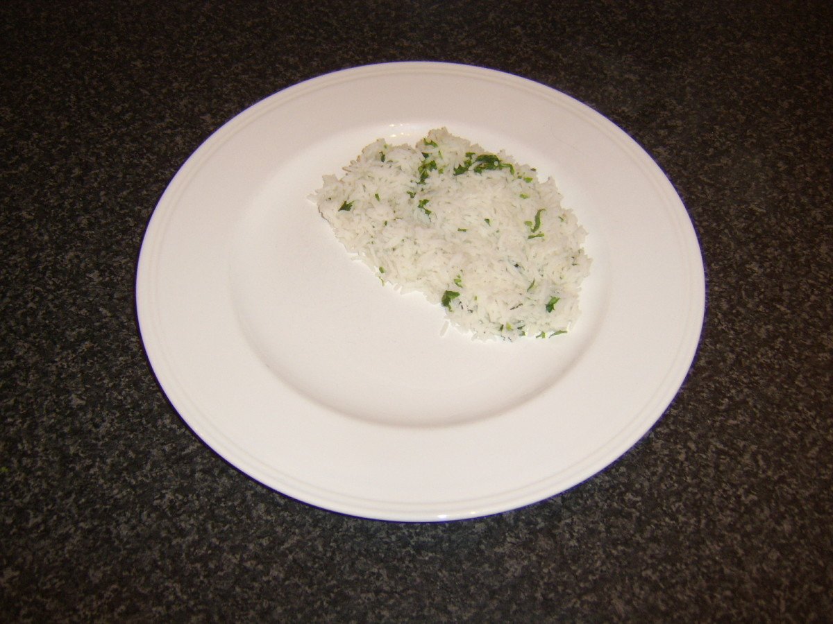 Herb and garlic rice is plated