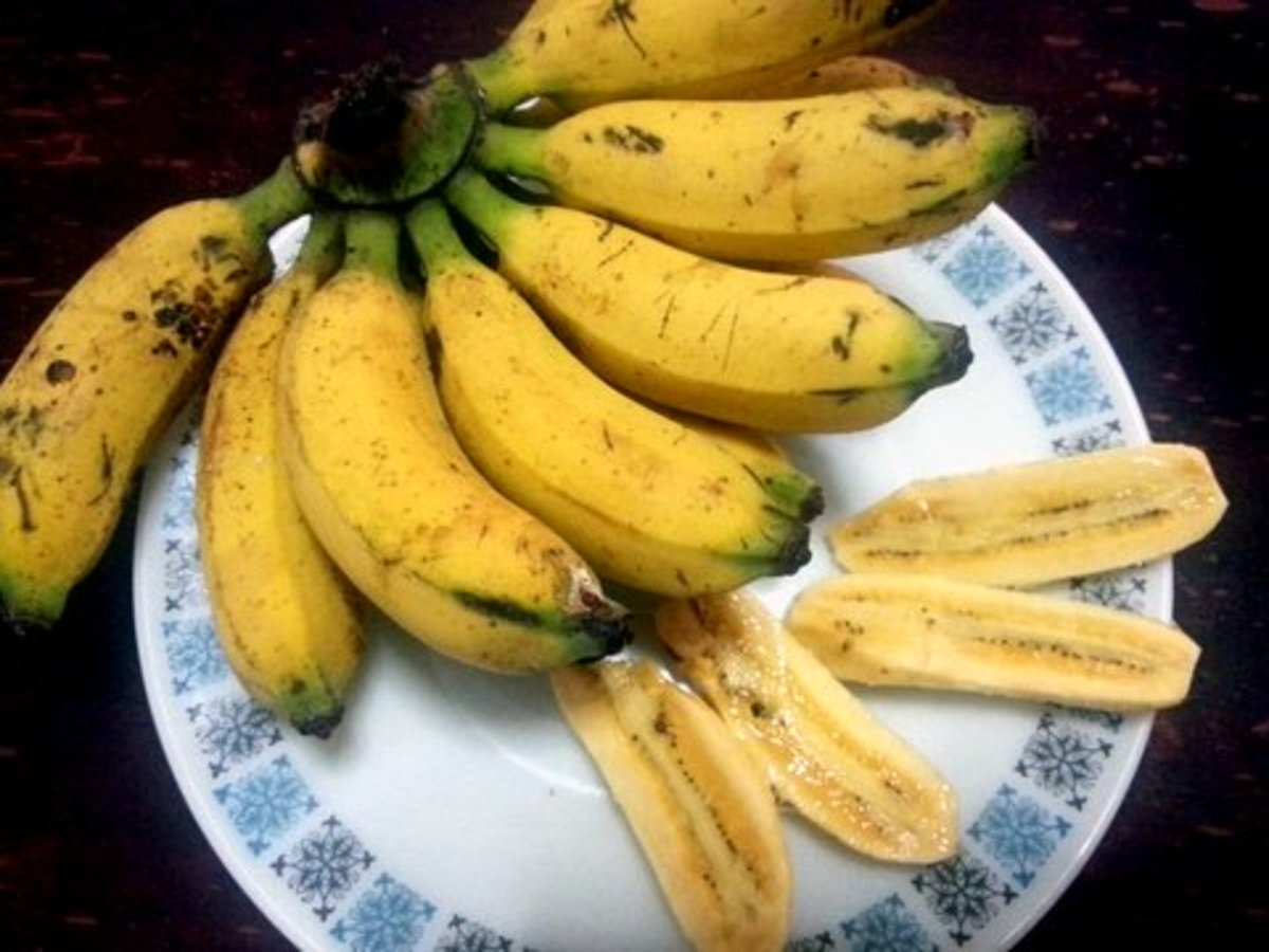 Pisang raja is the best variety to use for banana fritters. These came from my garden.
