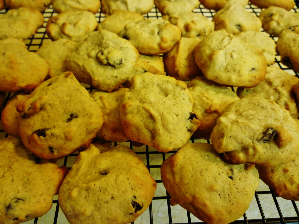Baked applesauce cookies cooling on wire rack