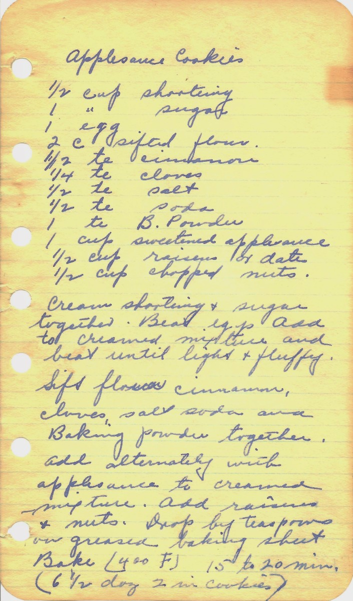 Hand-written recipe for Applesauce Cookies from my Grandma
