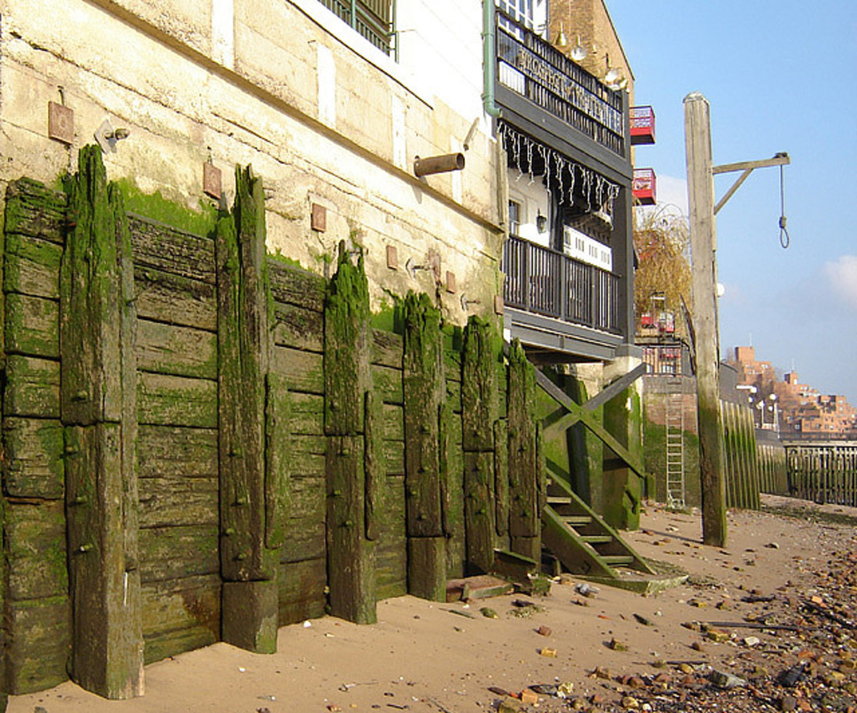 The gallows are set on the Thames sand just outside The Prospect Of Whitby pub. Who'll swing next when the tide comes in?