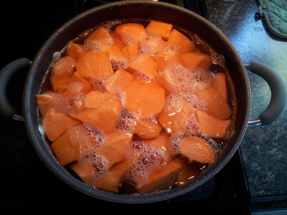 Cooking the fresh sweet potatoes