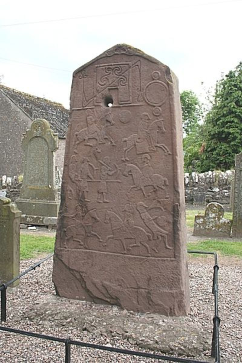 Pictish stone depicting hunting scenes.