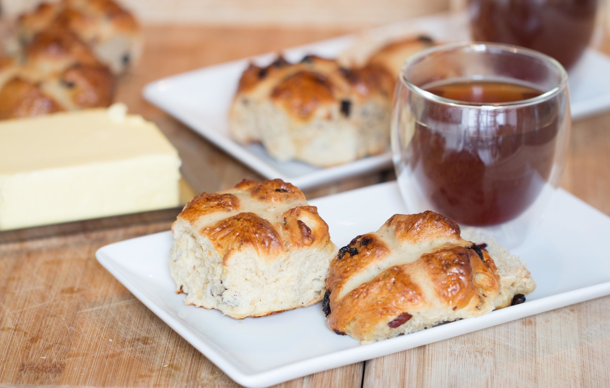Hot cross buns, butter and tea - a staple at Easter for me!