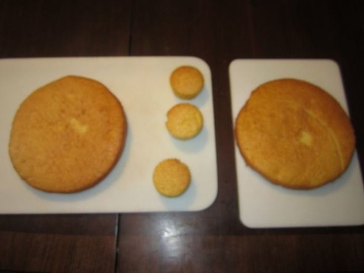 One box of cake mix can make two 9-in round cakes and three cupcakes.