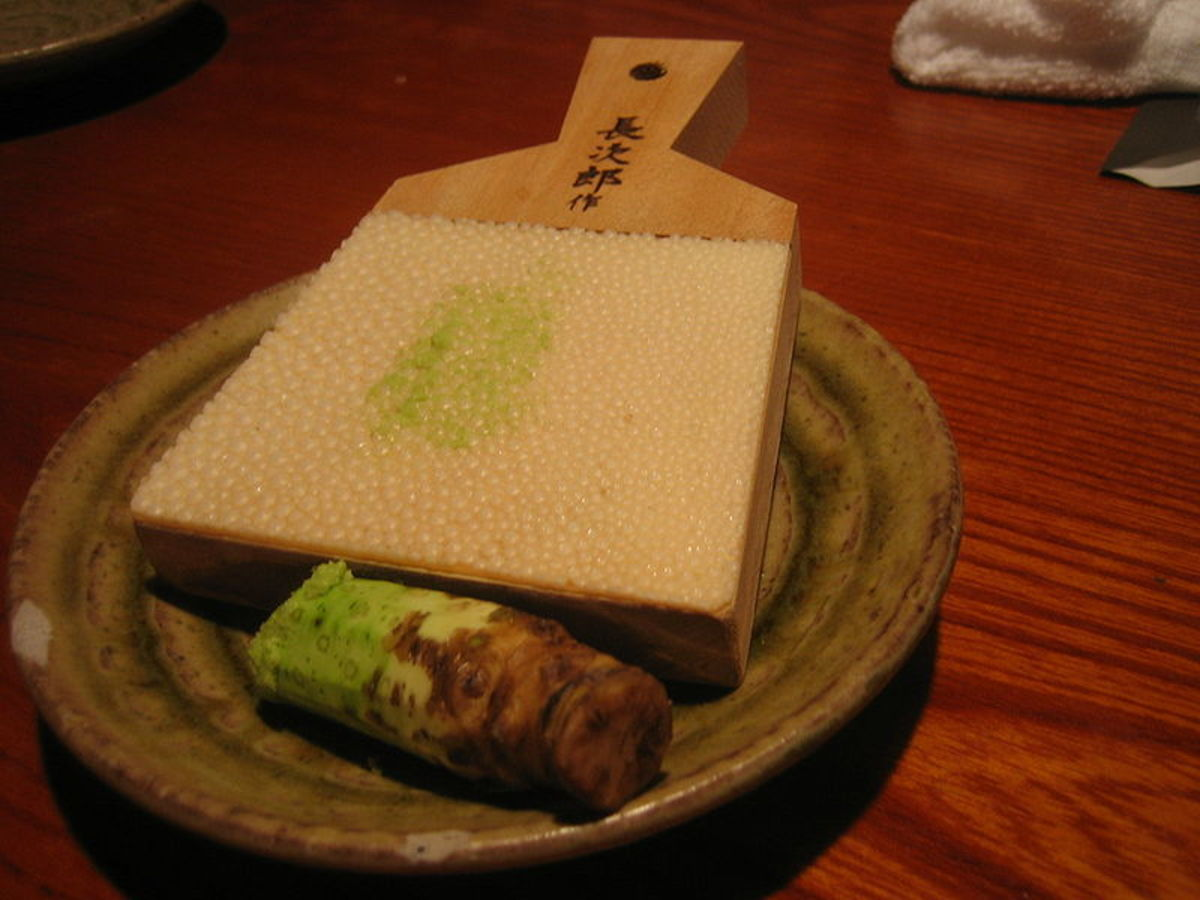 Wasabi root with sharkskin grater