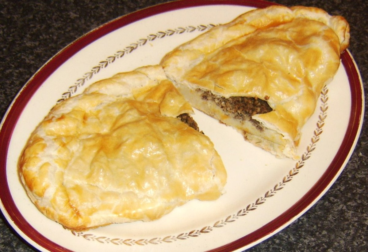 Haggis and clapshot pasty is cut for service
