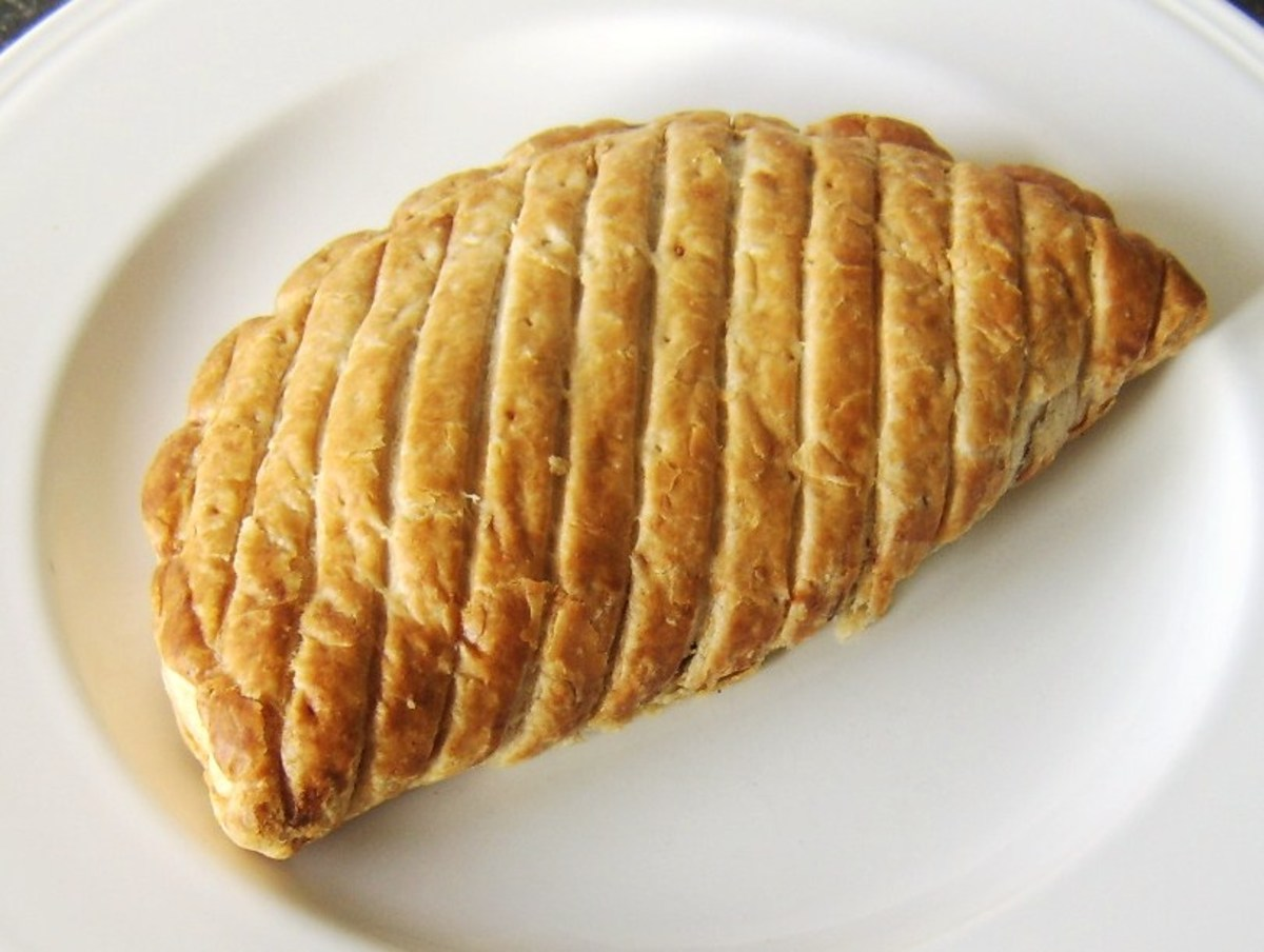 A basic supermarket-bought beef and onion pasty