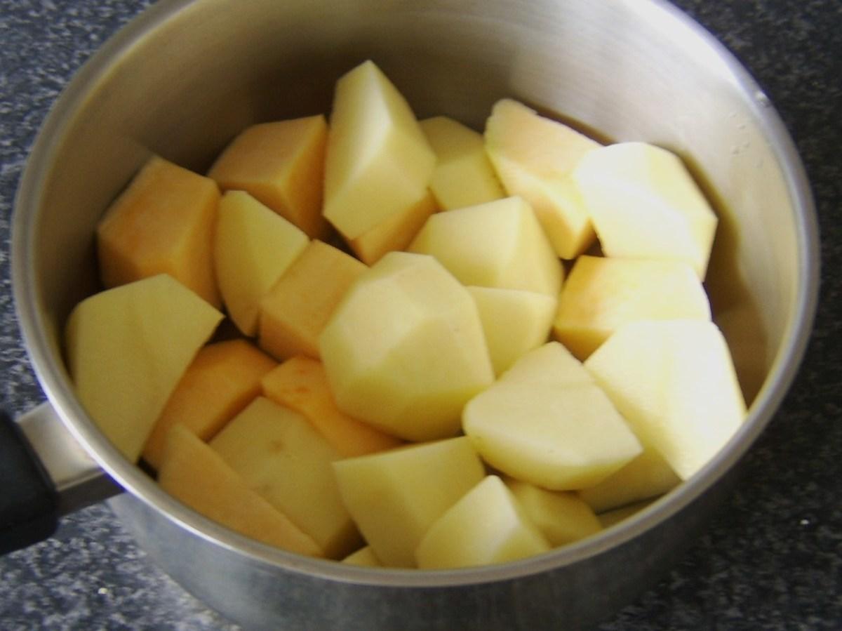 Chopped potato and Swede turnip