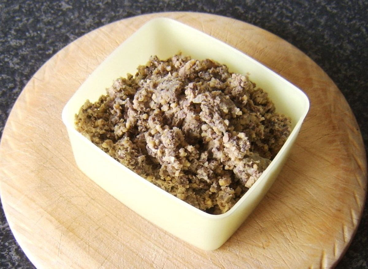 Haggis meat is fluffed up