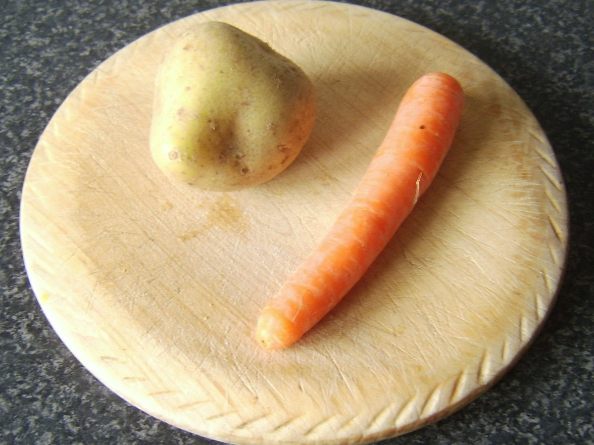 Potato and carrot for Irish stew pasty
