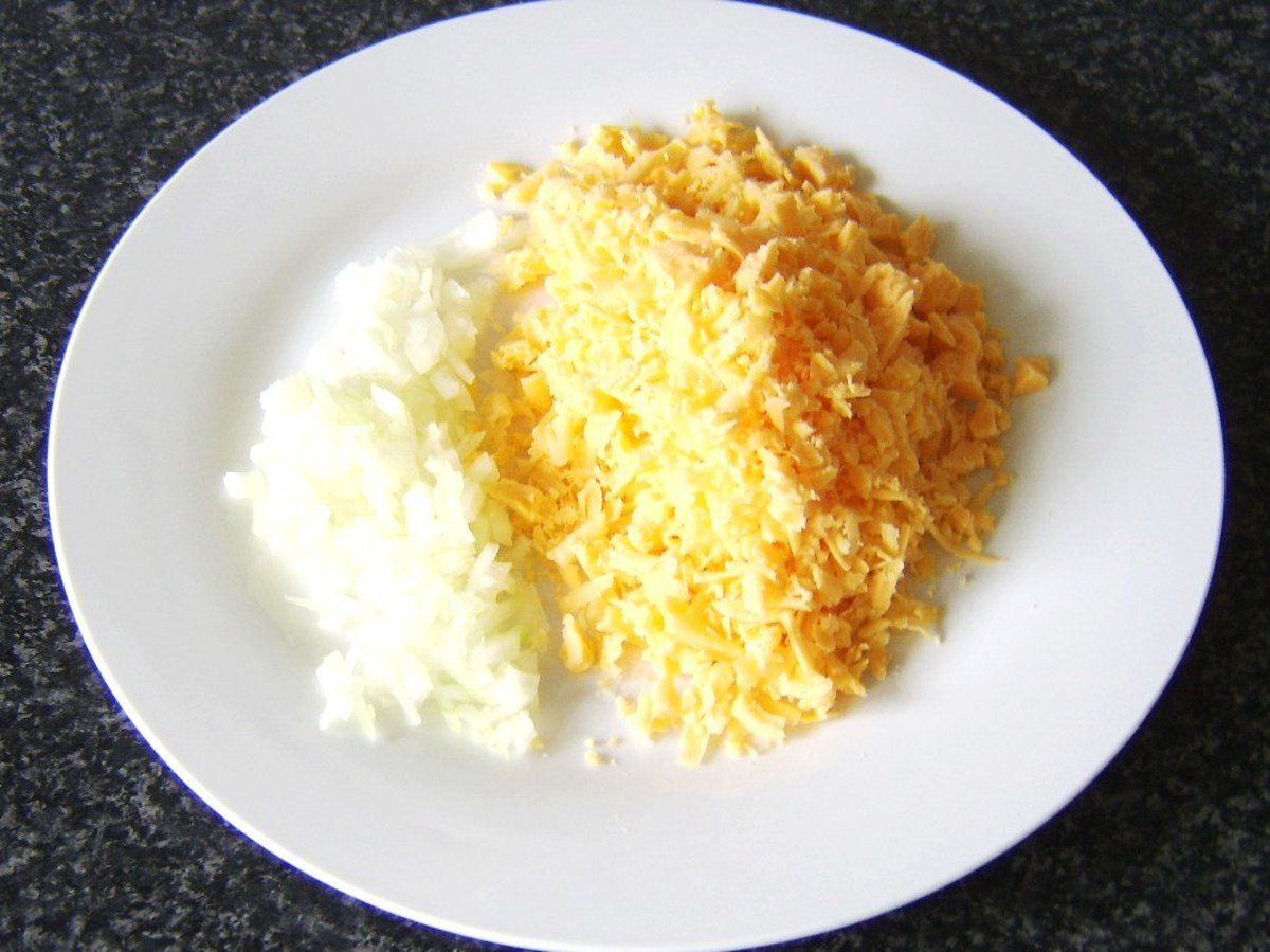 Cheese is grated and onion finely chopped