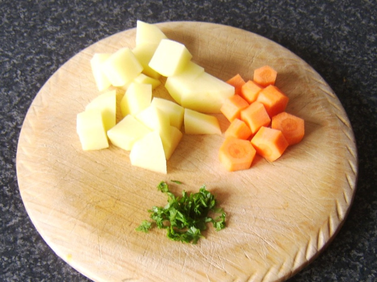 Prepared potato, carrot and mint for Irish stew pasty