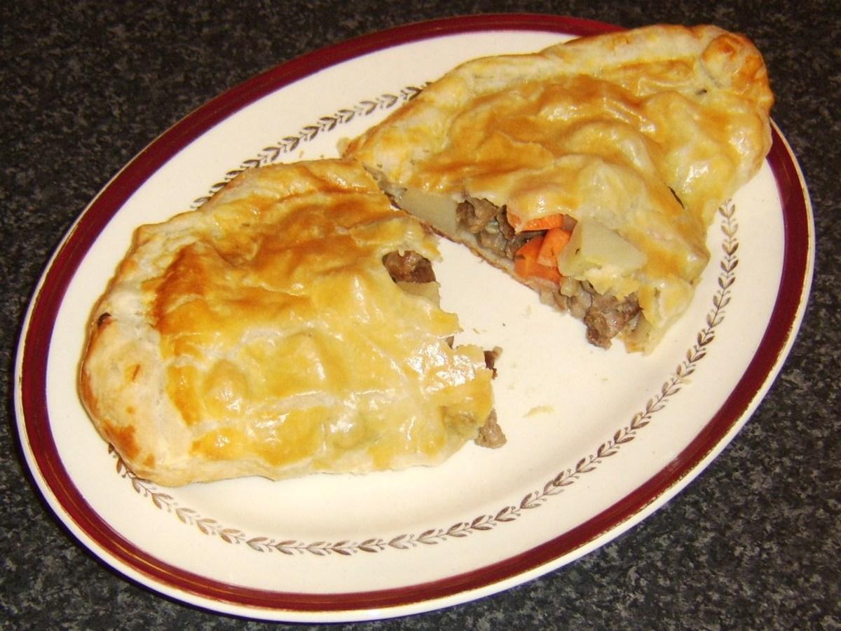 Irish Stew pasty is cut for service