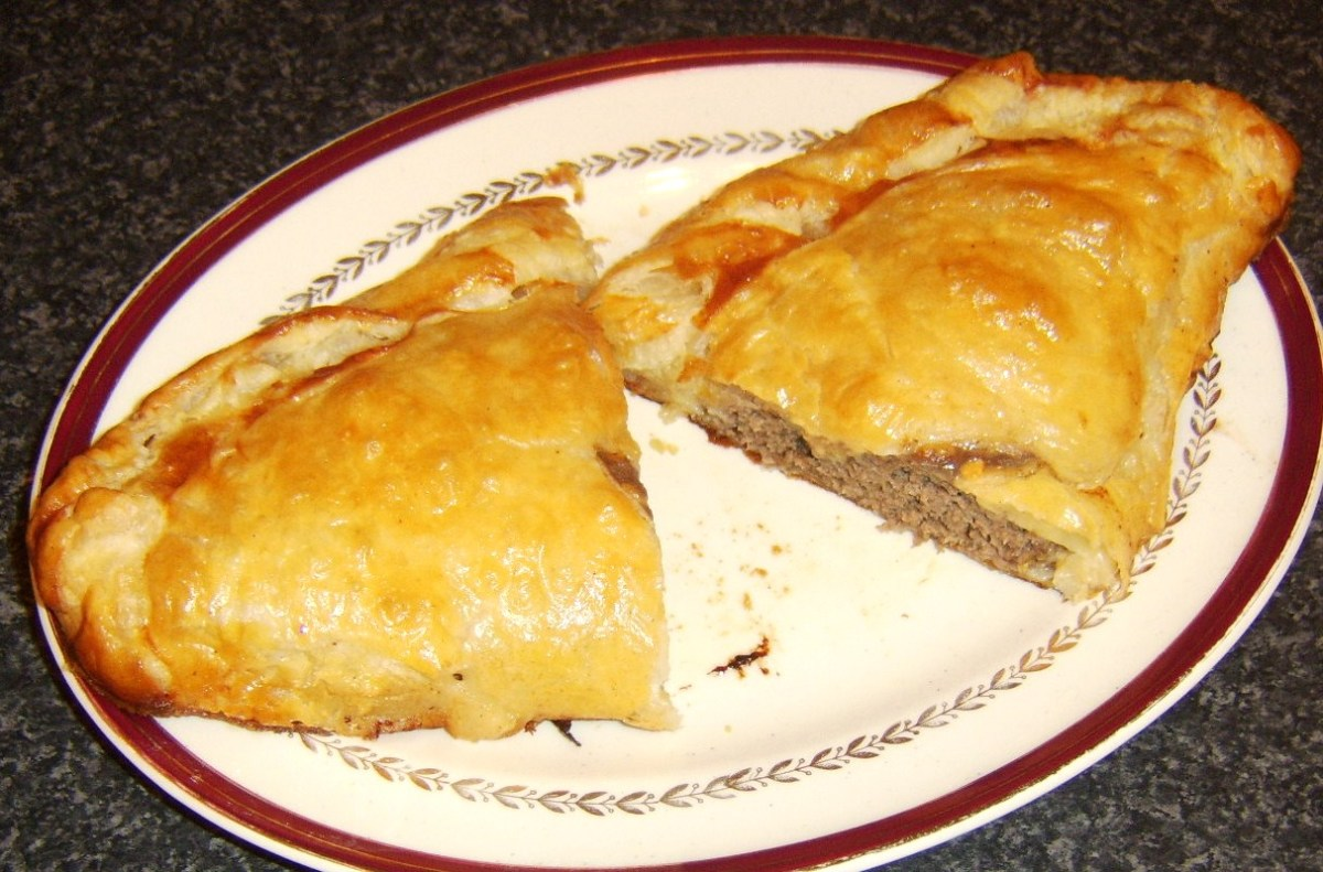 Cheeseburger pasty cut in to two portions